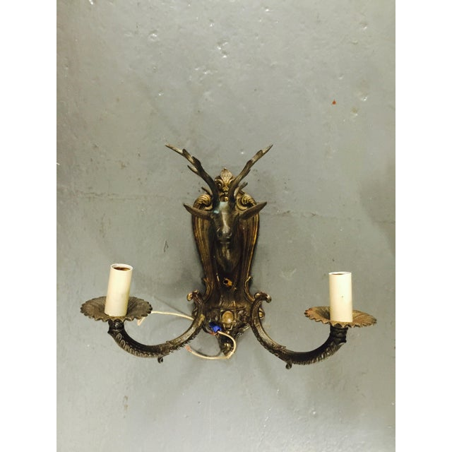 Vintage Brass Deer Head Wall Sconces - A Pair - Image 3 of 8