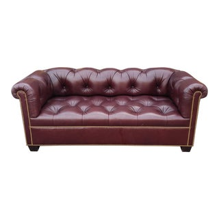 Fine Tufted Burgundy Leather English Chesterfield Sofa C1990s For Sale