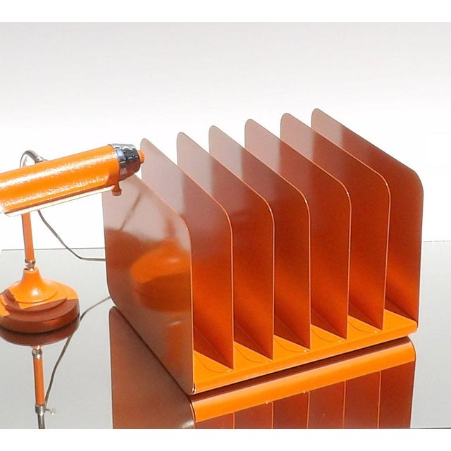 Orange Metal Desk Organizer For Sale - Image 4 of 6