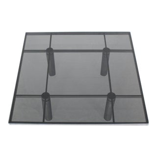 Square Chrome Smoke Glass Coffee Table by Tobia Scarpa for Knoll For Sale