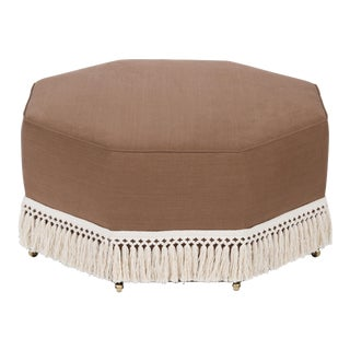 Casa Cosima Istanbul Cocktail Ottoman in Hazel Linen For Sale