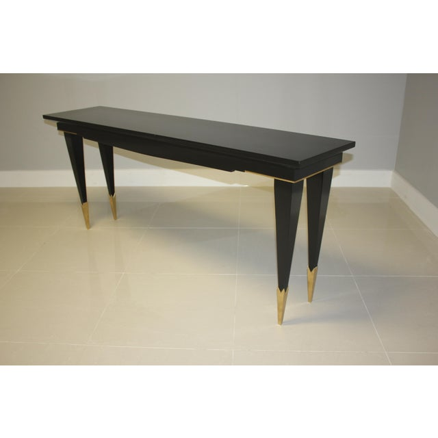 1940s French Art Deco Ebonized Console Table For Sale - Image 4 of 13