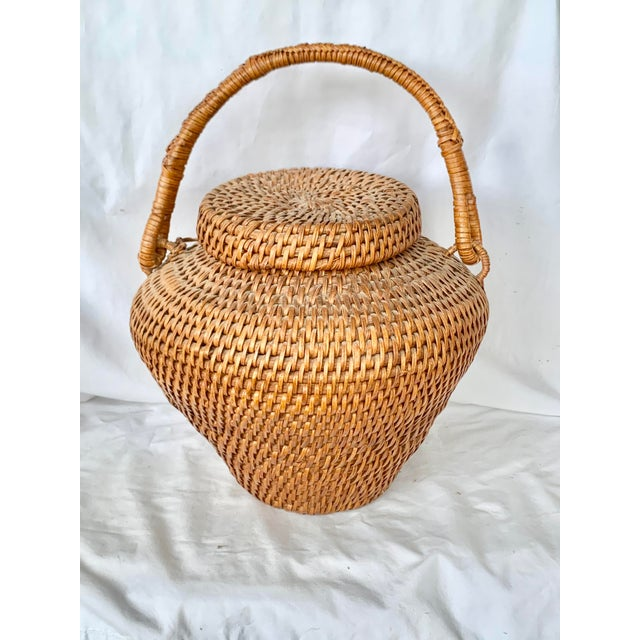 Vintage Large Lidded Basket For Sale - Image 13 of 13