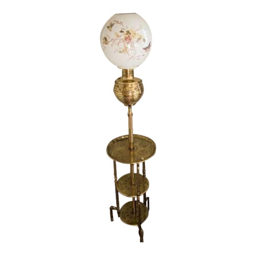 Antique Bradley Hubbard Chinoiserie Brass Triple Shelf Floor Oil Lamp For Sale