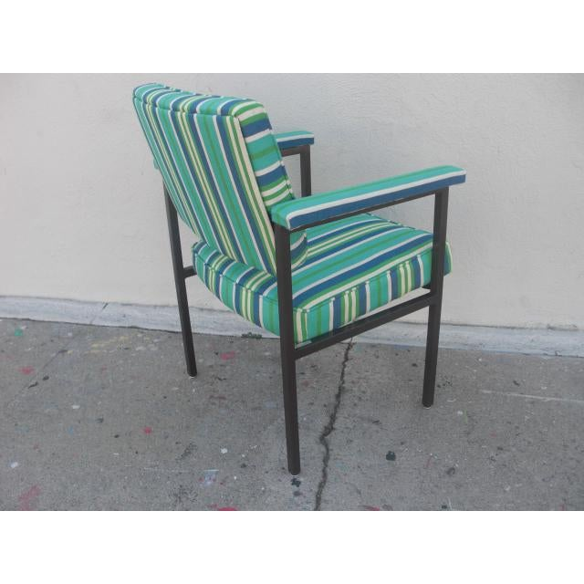 Mid 20th Century Mid-Century Modern Reupholstered Striped Steelcase Armchair For Sale - Image 5 of 9