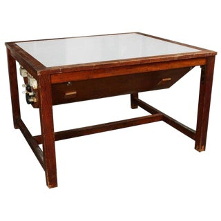 1920's Vintage Brown Game Table With Glass Top and Wood Frame For Sale