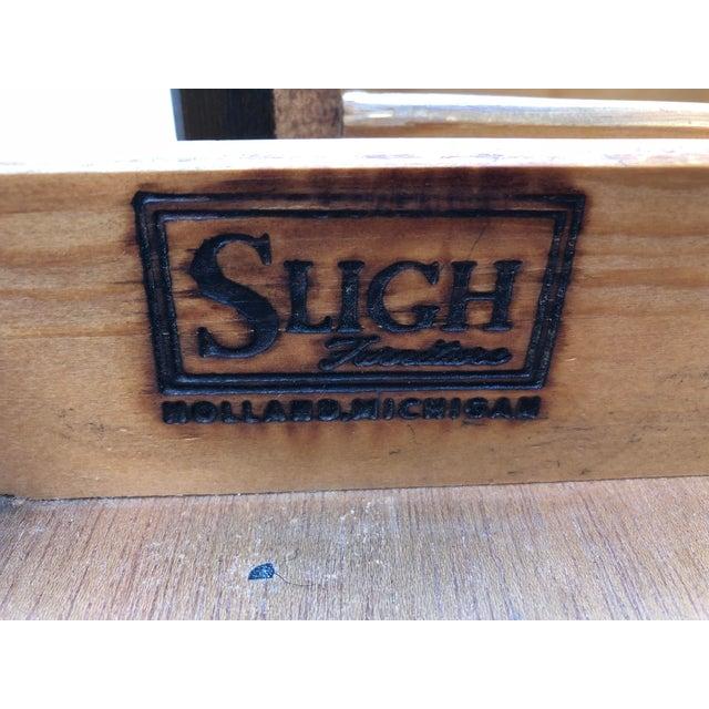 Original Vintage Sligh Furniture Leather Top Writing Desk For Sale - Image 9 of 13