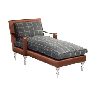 "Truex American Furniture Plaid Flannel and Solid Silk ""Pauline Chaise"""