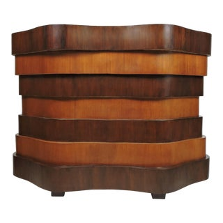 Art Deco Curved and Wavy Stacked Biomorphic Dry Bar For Sale