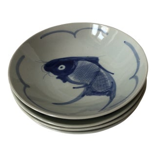 Chinese Cobalt Blue Koi Decorated Soup Plates - Set of 4 For Sale