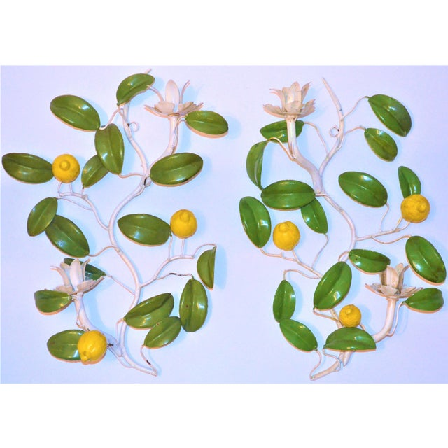 Italian Hand Painted Lemon Tree Tole Wall Sconces - a Pair For Sale In Houston - Image 6 of 8