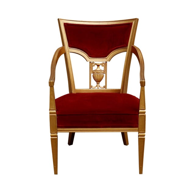Statesville Chair Company Royal Throne Chair in Red & Gold For Sale
