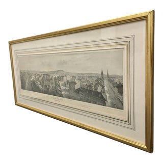 1840s Antique Mid-Century Presentation Panorama Lithograph of Bern, Switzerland For Sale