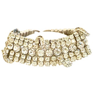 20th Century Art Deco Silver & French Paste Crystal Rhinestone Bracelet For Sale