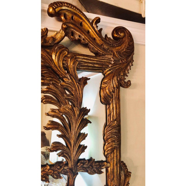 Wood La Barge Italian Style Foliate Giltwood Wall, Console or Over the Mantle Mirror For Sale - Image 7 of 13