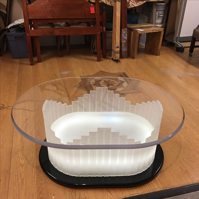 Vintage Art Deco Lucite Lighted Base Coffee Table For Sale - Image 9 of 10