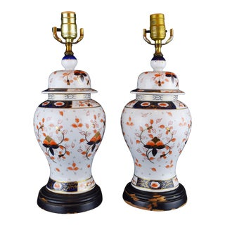 19th Century English Traditional Imari-Style Lamps - a Pair