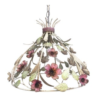 Vintage Painted Metal Tole Chandelier For Sale