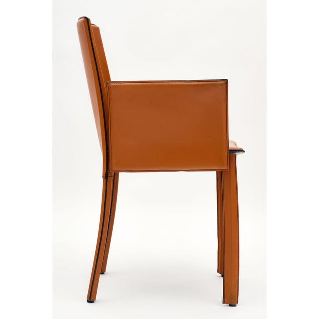 Vintage Modernist Orange Leather Armchairs - a Pair For Sale In Austin - Image 6 of 10