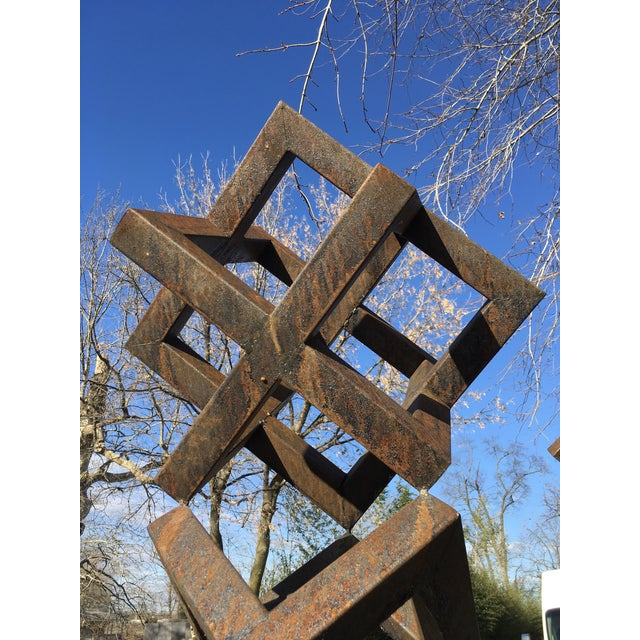 Contemporary Large Contemporary Steel Cube Sculptures / Statues - a Pair For Sale - Image 3 of 6