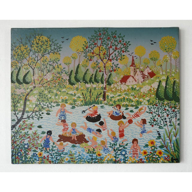 An exquisite and charming pair of vintage modern paintings depicting simple yet celebratory life scenes in perhaps a small...