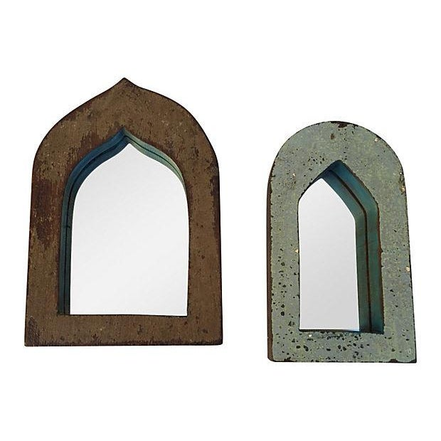 Brown & Blue Indian Archway Mirrors - A Pair For Sale