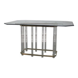Charles Hollis Jones Lucite and Brass Dining Table For Sale