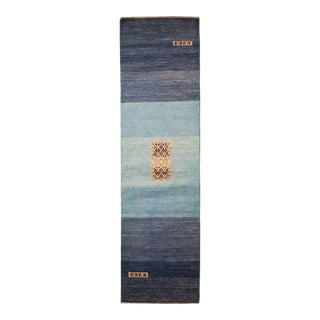 "Blue Hand-Knotted Runner Rug-2'7"" X 10'2"" For Sale"