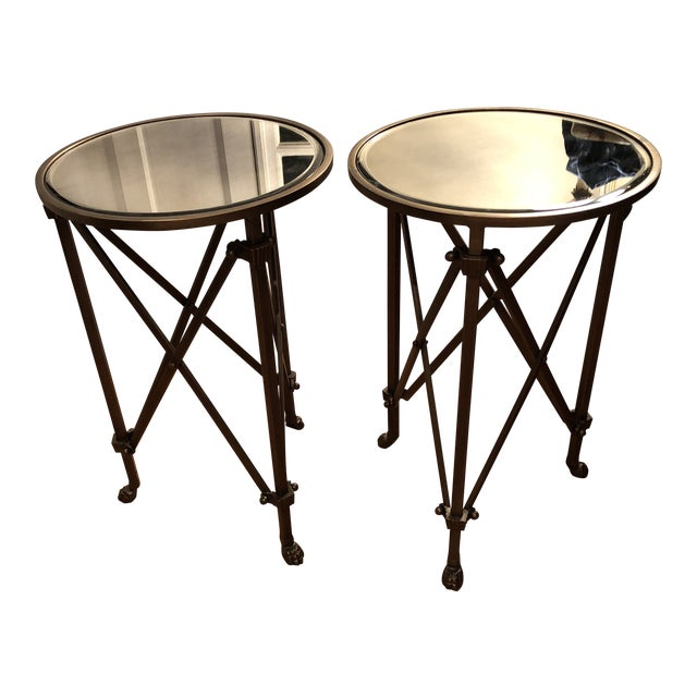 Industrial Bronze With Antique Mirror Top Side Tables A Pair