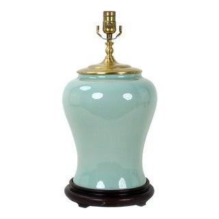 Modern Aqua Temple Vase Lamp For Sale