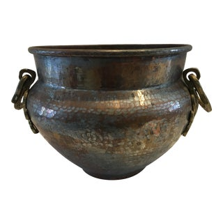 Vintage Hand Hammered Copper Cauldron Planter For Sale
