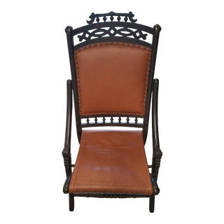 Antique Victorian Walnut Folding Campaign Chair For Sale