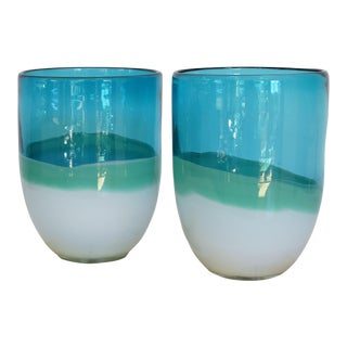 Aqua Turquoise Blown Glass Vases on Gold Leaf Bases, Pair.