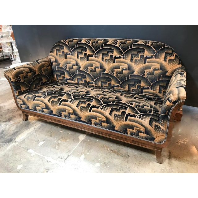 Glamorous Art Deco sofa and two chairs suite in cotton velvet, Italy 1920s. Original, unique, rare fabric in astonishing...