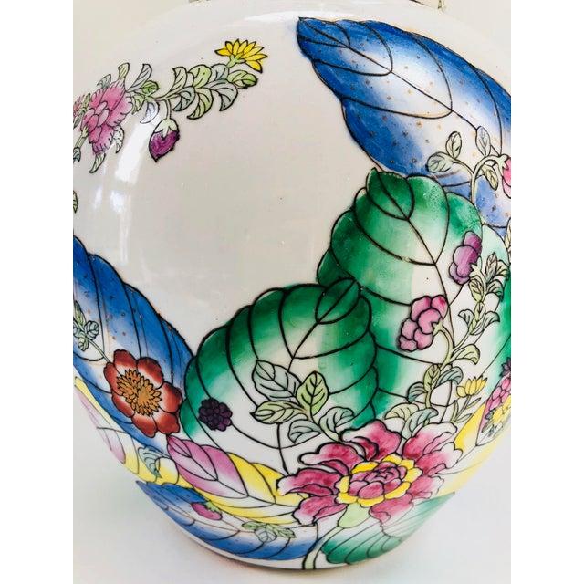 Asian Vintage Tobacco Leaf Ginger Jar Table Lamp For Sale - Image 3 of 6