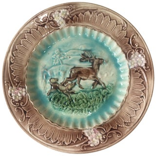 19th Century Country Majolica Deer and Dog Plate For Sale