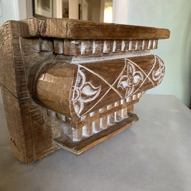 Anglo Indian Carved Light Teak Architectural Half Pillar Pilaster Capital Column Top For Sale - Image 9 of 13
