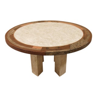 """Tessellated Stone """"Collage"""" Round Dining Table For Sale"""