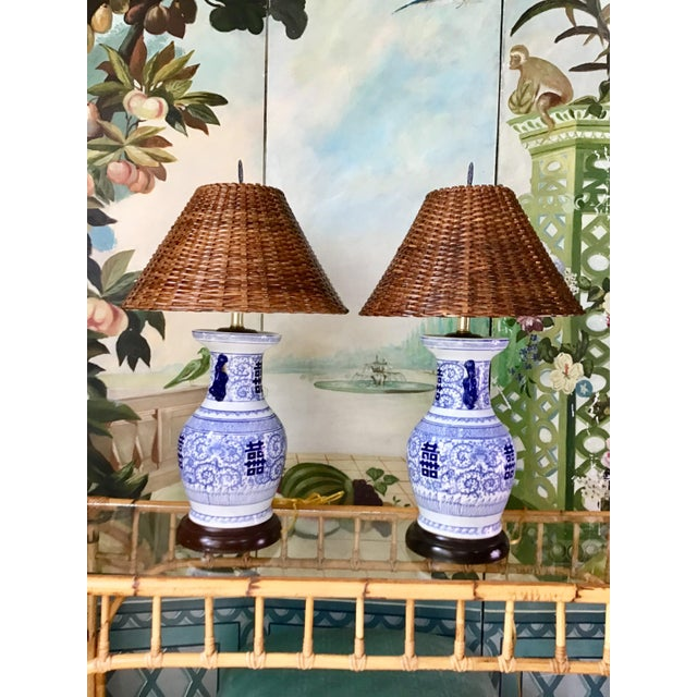 Late 20th Century Wildwood Blue and White Double Happiness Lamps - a Pair For Sale - Image 5 of 8