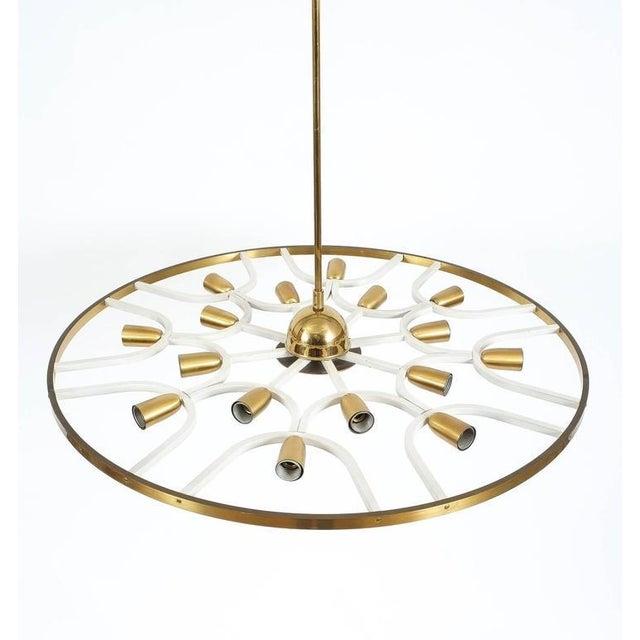 1960s Grand Ornamental Italian Brass Chandelier Or Flush Mount Lamp, circa 1960 For Sale - Image 5 of 7