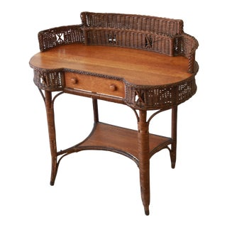 19th Century Reed and Oak Writing Desk by Heywood-Wakefield