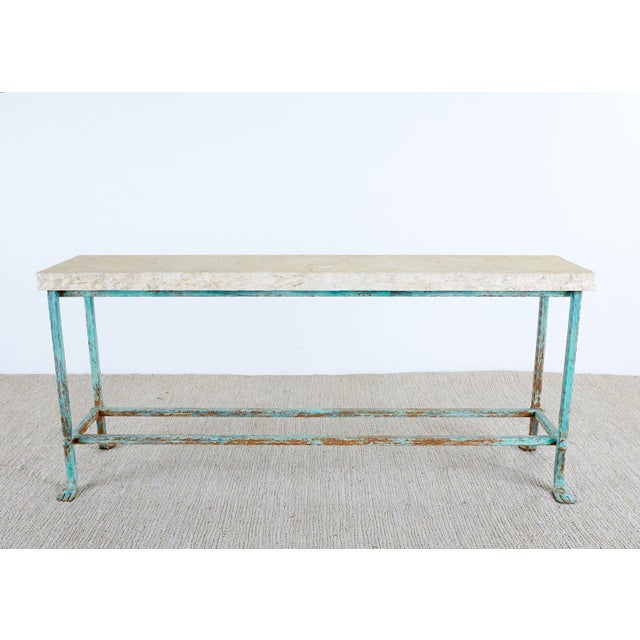 Neoclassical Patinated Iron and Stone Garden Console Table For Sale - Image 3 of 13