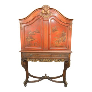 Early 20th C. Red Chinoiserie Cabinet With Gilded Drinks Bar For Sale