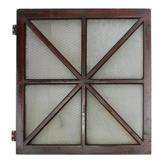 Early 1900s American Wood and Chicken Wire Glass Window
