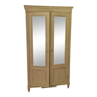 French Country Light Yellow Wooden Wardrobe For Sale