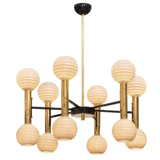 Modernist Ridged Murano Glass Chandelier For Sale
