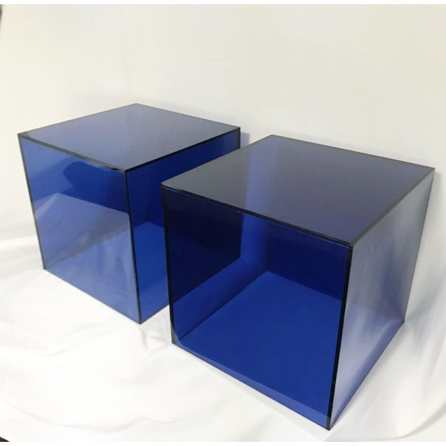 2000 - 2009 Haziza Lucite Cube End Tables in Deep Blue, a Pair For Sale - Image 5 of 5