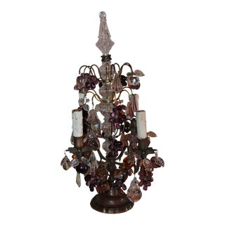 Antique 19thc French Maison Bagues Crystal Fruit and Petal Laden Bronze Table Lamp/ Girandole For Sale