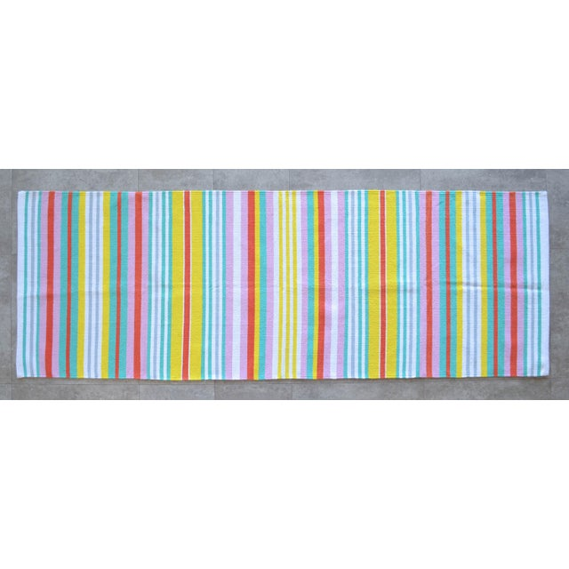 Hand-Made Rug Striped Zara Home Cotton Runner Rug - 2′4″ × 6′8″ For Sale - Image 9 of 9