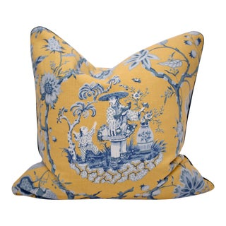 "Bassett McNab Company ""Tea Garden"" Double Sided Square Chinoiserie Down/Feather Pillow For Sale"